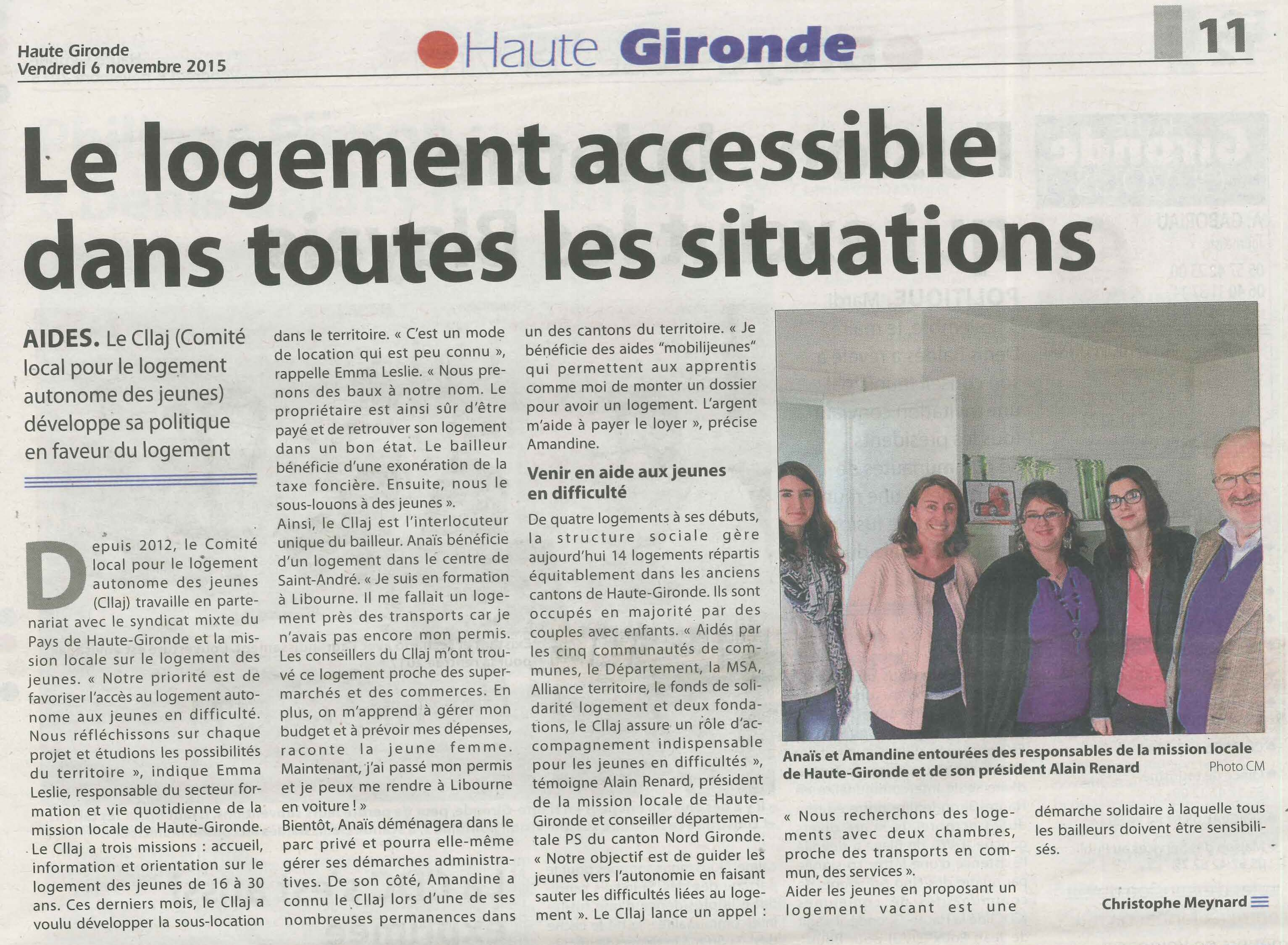 article CLLAJ Haute Gironde Sud Ouest 2015